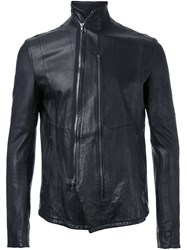 Julius Leather Zip Jacket Black