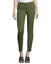 Minnie Rose Skinny Stretch Twill Ankle Pants Army
