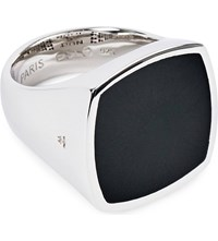 Tom Wood Flush Sterling Silver And Onyx Ring Black