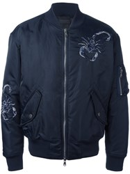Diesel Black Gold Embroidered Bomber Jacket Blue
