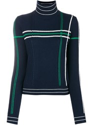 Carven Striped High Neck Knit Sweater Blue