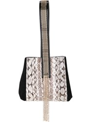 Lanvin Embellished Python Wristlet Bag Women Snake Skin One Size Black