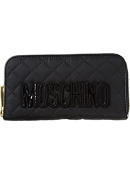 Moschino Quilted Zip Around Wallet Black