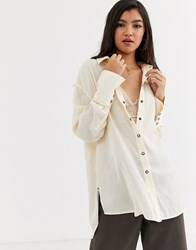 Free People Coffee In The Morning Knit Top Cream