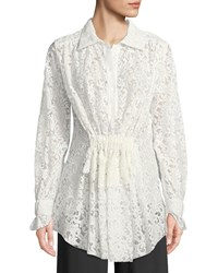 Francesco Scognamiglio Long Sleeve Gathered Waist Floral Lace Blouse White