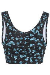Bodyism Ruched Floral Print Stretch Sports Bra Black