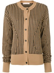 Marni Houndstooth Sculpted Cardigan Polyamide Viscose Wool Nude Neutrals