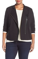 Plus Size Women's Nydj Faux Leather And Ponte Knit Moto Jacket