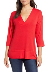 Bobeau Wide Seamed Tunic Tee Red
