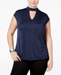 Inc International Concepts Plus Size Mock Neck Keyhole Top Only At Macy's Deep Twilight
