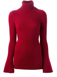 Stella Mccartney Ribbed Turtle Neck Sweater Red