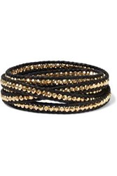Chan Luu Woman 18 Karat Gold Plated Sterling Silver And Leather Wrap Bracelet Black