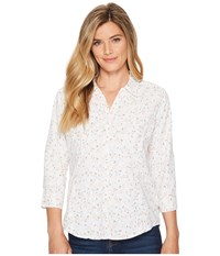 Royal Robbins Expedition Chill Print 3 4 Sleeve Top White Print Long Sleeve Button Up