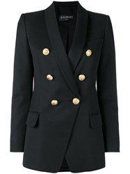 Balmain Double Breasted Blazer Women Cotton Viscose Wool 40 Black