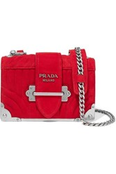 Prada Cahier Mini Quilted Suede Shoulder Bag Red