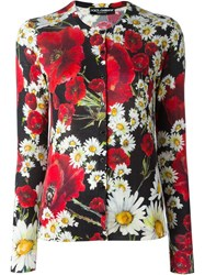 Dolce And Gabbana Daisy And Poppy Print Cardigan Multicolour
