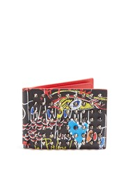 Christian Louboutin Clipsos Spike Embellished Leather Wallet Black Multi