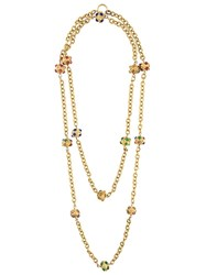Chanel Vintage Gripoix Sautoir Double Strand Necklace Yellow And Orange
