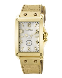 Brera 16K Gold Ionic Plated Rectangle Watch With Rubber Strap