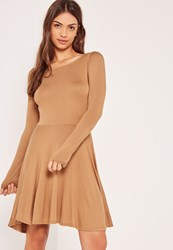 Missguided Brown Basic Skater Dress