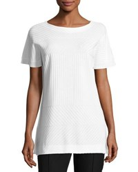 Misook Rib Knit Short Sleeve Tunic White