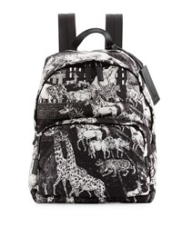 Prada Tessuto Animal Kingdom Backpack Black White Black White