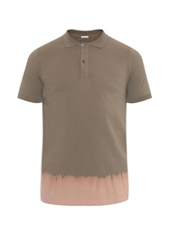 Tomas Maier Bleached Hem Cotton Pique Polo Top