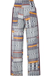 Lemlem Kente Smocked Canvas Trimmed Printed Cotton Gauze Pants Navy