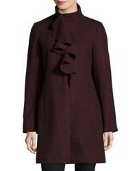 T Tahari Kate Ruffle Wool Blend Coat Merlot