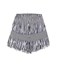 Prism Fringed Cotton Shorts Black