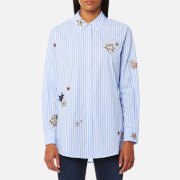 Maison Scotch Women's Long Sleeve Shirt With Placed Star Embroidery Combo S Blue