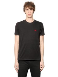 Burberry Logo Embroidered Cotton Jersey T Shirt