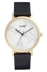 Cluse Women's 'La Roche' Leather Strap Marble Watch 38Mm Black White Marble Gold