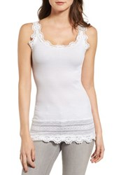 Rosemunde Women's Silk And Cotton Rib Knit Tank New White