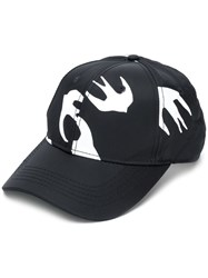 Mcq By Alexander Mcqueen Swallow Print Cap Black