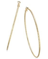 Thalia Sodi Gold Tone Large Textured Skinny Hoop Earrings Only At Macy's