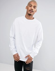 Asos Oversized Long Sleeve T Shirt With Super Long Sleeves In White White