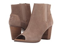 Toms Majorca Peep Toe Bootie Stucco Suede Perforated Women's Toe Open Shoes Brown