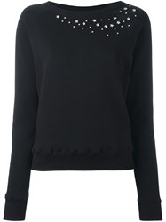 Saint Laurent Star Studded Crew Neck Sweatshirt Black