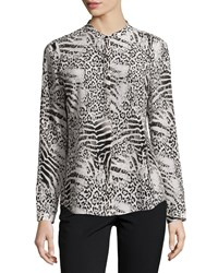 Lafayette 148 New York Delana Animal Print Silk Blouse Ash Multi