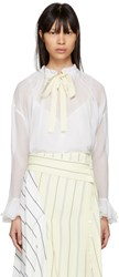 See By Chloe White High Neck Bow Blouse