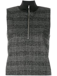 Wood Wood Checked Zipped Sweater Polyamide Polyester Spandex Elastane Wool Grey