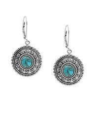 Lord And Taylor Sterling Silver Faux Turquoise Drop Earrings Blue