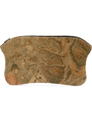 Aganovich Tapestry Clutch Cotton Leather Multicolour