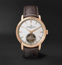 Vacheron Constantin Traditionnelle Automatic Tourbillon 41Mm 18 Karat Pink Gold And Alligator Watch White