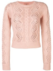Ermanno Scervino Open Cable Knit Jumper Polyamide Wool Alpaca Pink Purple