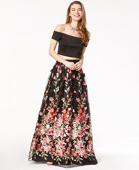 Trixxi Juniors' 2 Pc. Off The Shoulder Gown Black Floral
