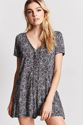 Forever 21 V Neck Paisley Print Romper Brown Navy