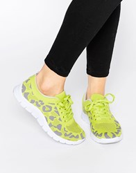 Bronx Leopard Print Trainers Yellow
