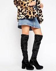 Truffle Collection Over The Knee Platform Heel Boot Black Velevt